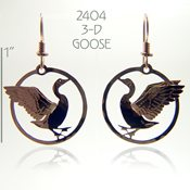 3-D Goose in Circle Earrings