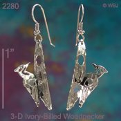 3-D Ivory-Billed Woodpecker earrings