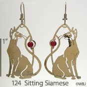 Sitting Siamese w/ Carnelian Bead Earrings