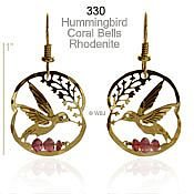 Hummmingbird with Coral Bells Earrings