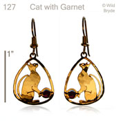 Cat Earrings with Garnet Beads
