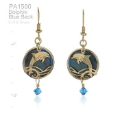 Dolphin Earrings with Blue Paua Shell and Crystal
