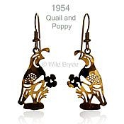 Quail and Poppy Earrings