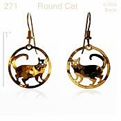 Round Cat Earrings