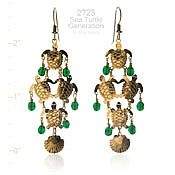 Sea Turtle Cluster Earrings with Green Beads