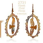 Hawk in Filigree Oval Earrings