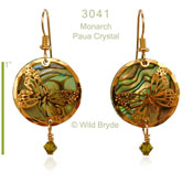 Wild Bryde Monarch with Paua and Green Crystal Earrings