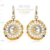 Small Beaded Sun Face Earrings