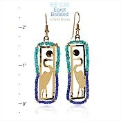Blue Green Beaded Egret Earrings