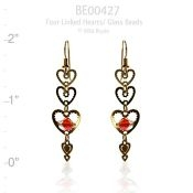 Beaded Love Heart Earrings